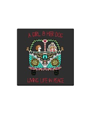 A girl and her dog living life in peace Square Magnet thumbnail