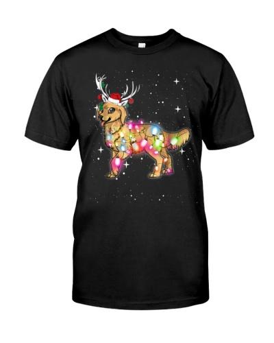 Christmas Lights Golden Retriever Dog T Shirt