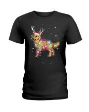 Christmas Lights Golden Retriever Dog T Shirt Ladies T-Shirt thumbnail