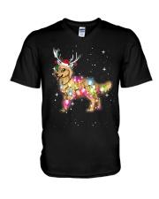 Christmas Lights Golden Retriever Dog T Shirt V-Neck T-Shirt thumbnail