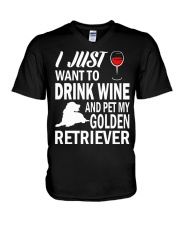 Mens I Just Want To Drink Wine Pet My Golden Retri V-Neck T-Shirt thumbnail