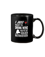 Mens I Just Want To Drink Wine Pet My Golden Retri Mug thumbnail