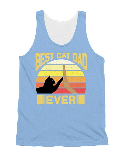 Best Cat Dad Ever Vintage Retro Sunset