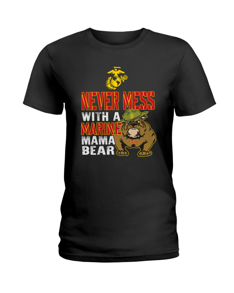 Never Mess With Marine Mama Bear Ladies T-Shirt