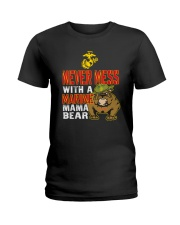 Never Mess With Marine Mama Bear Ladies T-Shirt front