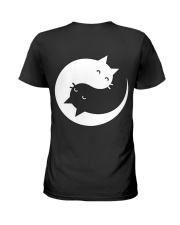 Yin and yang cat Ladies T-Shirt back