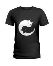 Yin and yang cat Ladies T-Shirt front