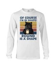 Black cat over coffee cup Long Sleeve Tee tile