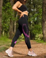 Pink breast cancer never give up leggings survivor High Waist Leggings aos-high-waist-leggings-lifestyle-20