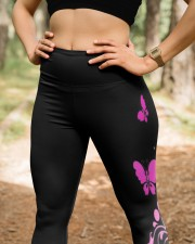 Pink breast cancer never give up leggings survivor High Waist Leggings aos-high-waist-leggings-lifestyle-22