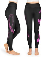 Pink breast cancer never give up leggings survivor High Waist Leggings front