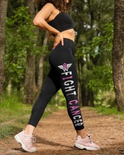 I can fight pink breast cancer leggings survivors High Waist Leggings aos-high-waist-leggings-lifestyle-20