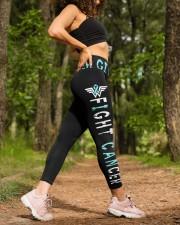 Teal ribbon never give up ovarian cervical cancer High Waist Leggings aos-high-waist-leggings-lifestyle-20