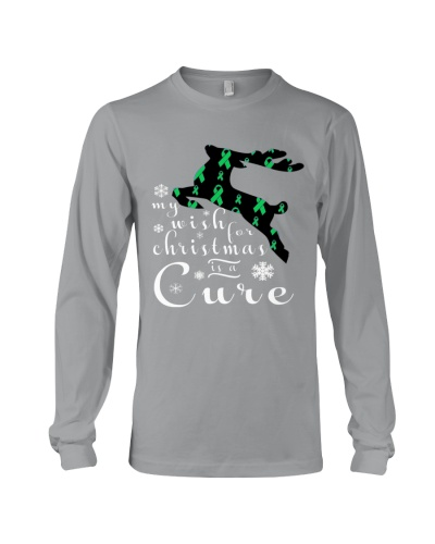 Limited Edition-green ribbon cancer reindeer tees