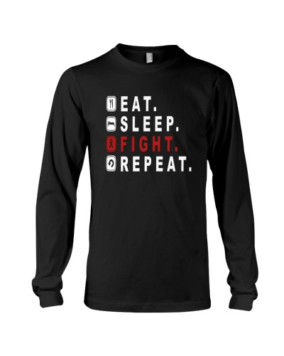 Eat sleep fight red ribbon cancer repeat shirt