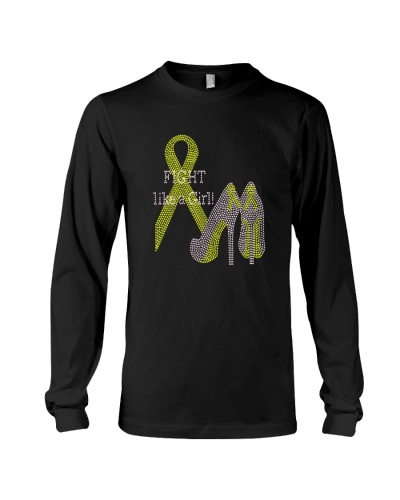 Fight like a girl yellow ribbon cancer shirt