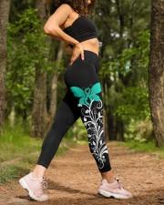 Teal ribbon hope leggings Ovarian Cervical cancer High Waist Leggings aos-high-waist-leggings-lifestyle-20