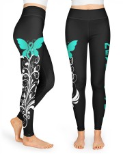 Teal ribbon hope leggings Ovarian Cervical cancer High Waist Leggings front