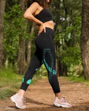 Teal cancer fight leggings ovarian cervical cancer High Waist Leggings aos-high-waist-leggings-lifestyle-20