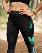 Teal cancer fight leggings ovarian cervical cancer High Waist Leggings aos-high-waist-leggings-lifestyle-22