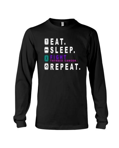 Eat sleep fight thyroid cancer repeat shirt