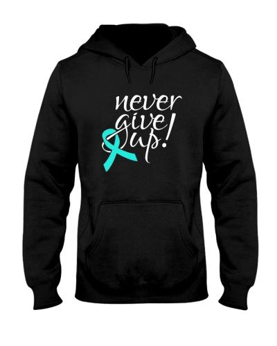 Niver give up -teal ribbon cancer shirt