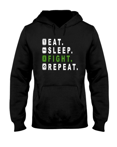 Eat sleep fight green ribbon cancer REPEAT shirt