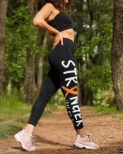 Orange ribbon cancer stranger leukemia kidney High Waist Leggings aos-high-waist-leggings-lifestyle-20