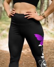 Thyroid cancer fight like a girl thyroid warriors High Waist Leggings aos-high-waist-leggings-lifestyle-22
