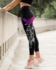 Thyroid cancer fight like a girl thyroid warriors High Waist Leggings aos-high-waist-leggings-lifestyle-23