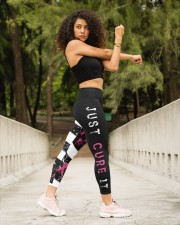 Breast cancer shirts cure for pink ribbon warriors High Waist Leggings aos-high-waist-leggings-lifestyle-10
