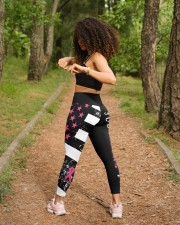 Breast cancer shirts cure for pink ribbon warriors High Waist Leggings aos-high-waist-leggings-lifestyle-17