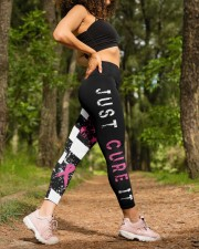 Breast cancer shirts cure for pink ribbon warriors High Waist Leggings aos-high-waist-leggings-lifestyle-20