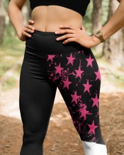 Breast cancer shirts cure for pink ribbon warriors High Waist Leggings aos-high-waist-leggings-lifestyle-22