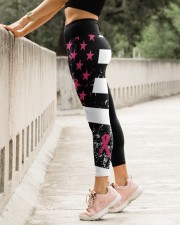 Breast cancer shirts cure for pink ribbon warriors High Waist Leggings aos-high-waist-leggings-lifestyle-23