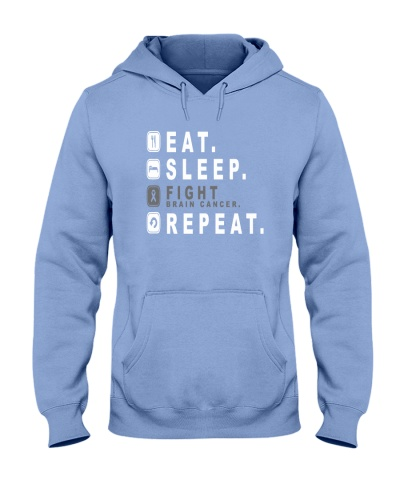Eat sleep fight brain cancer repeat shirt