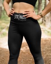 Brain cancer stranger gray ribbon warrior survivor High Waist Leggings aos-high-waist-leggings-lifestyle-22