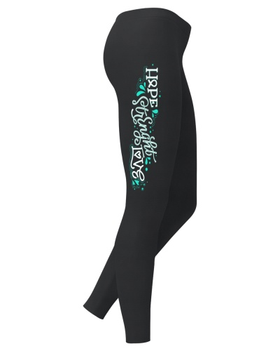 hope strenght love teal cancer leggings