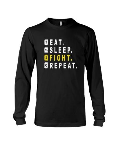 eat sleep yellow ribbon cancer repeat  shirt