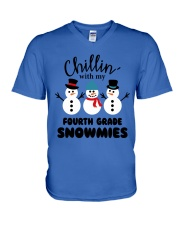 Chillin with my fourth grade snowmies V-Neck T-Shirt thumbnail