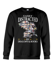 Easily Distracted By Dragons And Books Re Crewneck Sweatshirt thumbnail