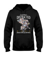 Easily Distracted By Dragons And Books Re Hooded Sweatshirt thumbnail