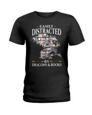 Easily Distracted By Dragons And Books Re Ladies T-Shirt thumbnail