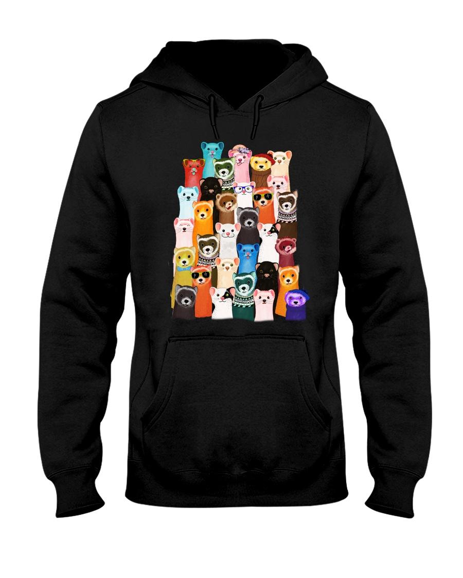Otters colorful art Hooded Sweatshirt