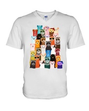 Otters colorful art V-Neck T-Shirt thumbnail