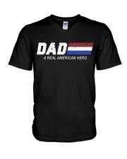 Dad A Real American Hero V-Neck T-Shirt thumbnail