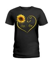 Dog Mom heart sunflower Ladies T-Shirt thumbnail
