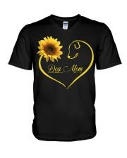Dog Mom heart sunflower V-Neck T-Shirt thumbnail