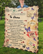 "Inside This Blanket Dad To Daughter Fleece Blanket - 50"" x 60"" aos-coral-fleece-blanket-50x60-lifestyle-front-02b"