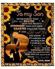 "Never 4get U Are Braver Sunflower Mom To Son Fleece Blanket - 50"" x 60"" front"